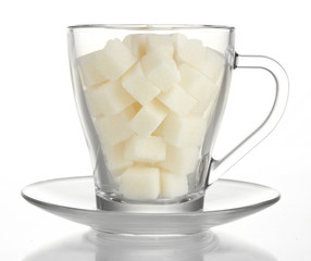 refined sugar in glass cup isolated on white background