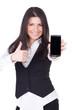daumen hoch zum mobilen telefonieren