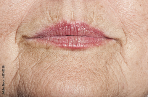 old skin with lips