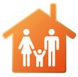 Symbol Haus mit Familie orange