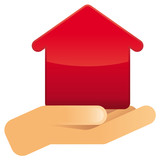 Hand mit rotem Haus