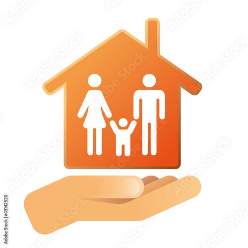 Hand mit Haus Familie