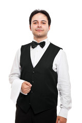 Waiter isolated on white