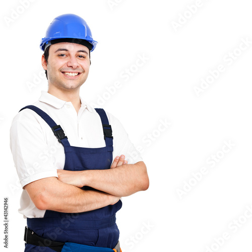 Young worker potrait isolated on white