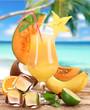 Fruit cocktail on the beach
