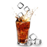 Cola glass with falling ice cubes over white
