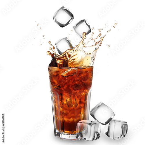 canvas print picture Cola glass with falling ice cubes over white