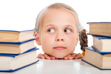 girl  choosing the books on isolated white