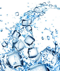 Ice cubes in water splash