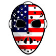 Hockey mask with north american flag isolated over white