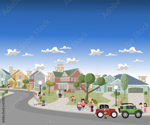 People in the street of a retro suburb neighborhood