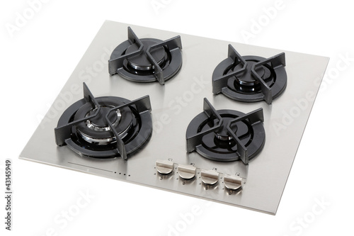 Stainless steel gas hob isolated with clipping path