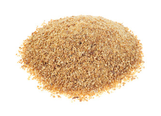 Coconut palm sugar on white background