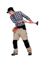 craftsman pulling a plunger