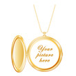 Vintage Round Gold Locket with copy space, necklace chain.