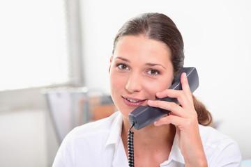 Secretary with telephone