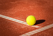 closeup on tennis ball on clay court