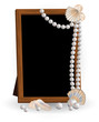 Photo frame with pearls, vector illustration