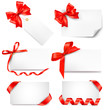 Set of card note with red gift bows with ribbons.