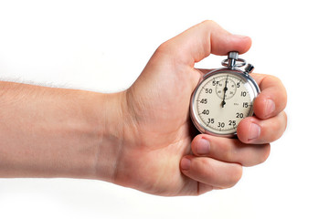 Man's hand holding stopwatch