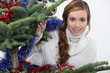 young woman celebrating Christmas
