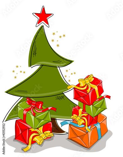 Weihnachten, Karte mit Baum und Geschenken