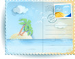 Tropical sea, vintage postcard