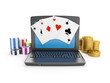 3d illustration: Gambling on the Internet, play online. Laptop c