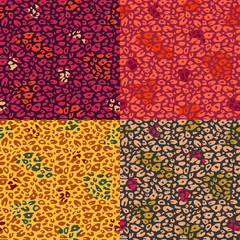 Colorful Cheetah Print Seamless Pattern Set