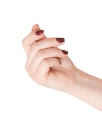 Hand holding something (business card, money)