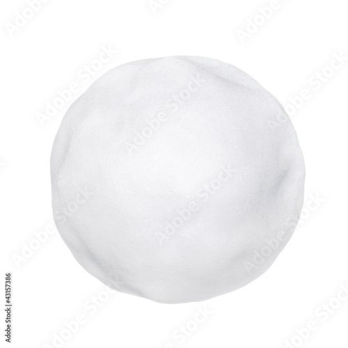 Leinwanddruck Bild Snowball or hailstone on a white background