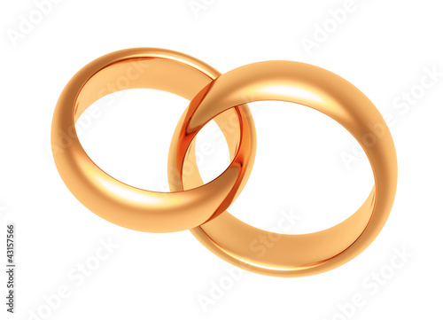 gold rings on a white background