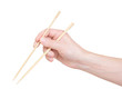 chopsticks in hand on a white background