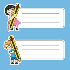 Pegatinas para material escolar. Niños con un lápiz