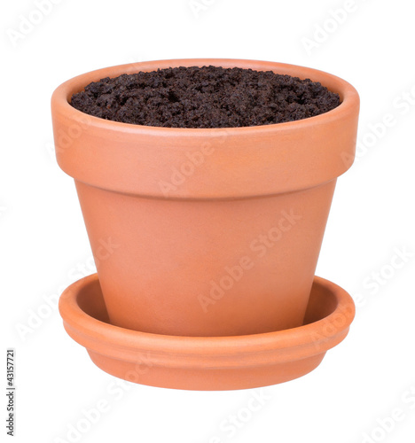 Flower pot with the soil on white background - 43157721