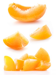 Collection of slice apricots, isolated on white background