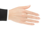 Hand for a handshake on a white background