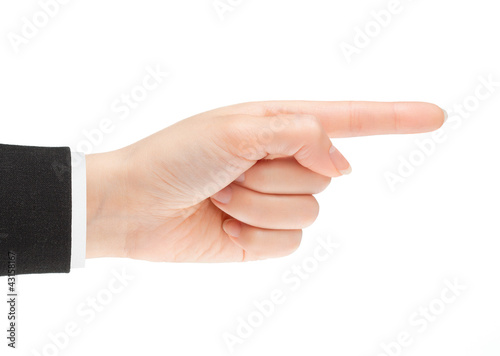 Pointing hand. Gesture of the hand on white background