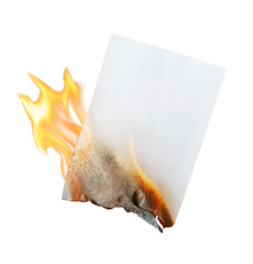 burning paper on white background