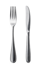 Flatware on white background. Fork and knife.