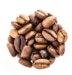 coffee beans on a white background, close-up