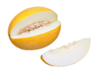 Cut ripe melon on a white background.