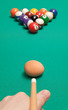 blow chicken egg on the billiard balls