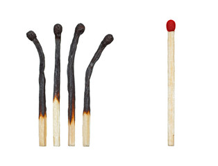 burnt matches and a whole match