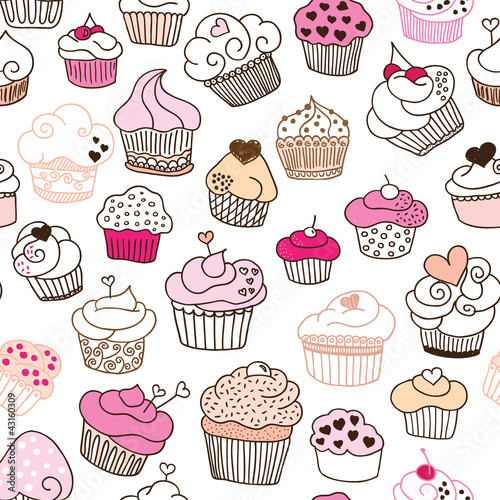 Wall mural Seamless cupcake illustration pattern in vector