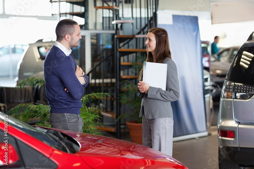 Man speaking with a businesswoman
