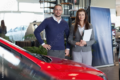 Man purchasing a new car