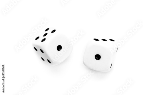 Two black and white dices thrown
