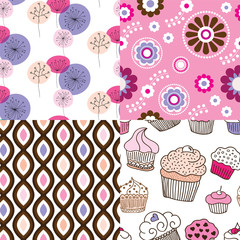 Seamless cupcake flower retro ornament background pattern