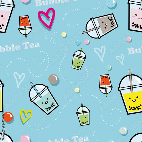Bubble Tea - seamless pattern